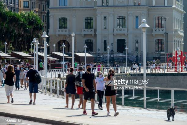Tourists in Oviedo during the summer of the covid pandemic 19, on August 25, 2020 in Oviedo, Asturias, Spain.