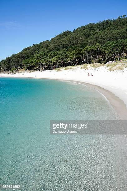 Tourists in Rodas beach in Cies Islands
