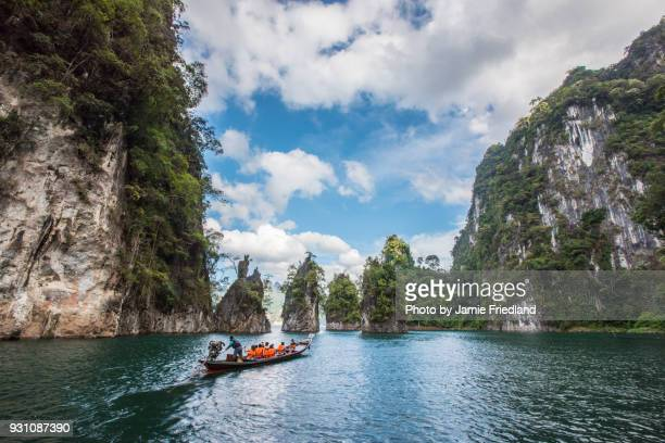 tourists in thailand boat - kao sok national park stock pictures, royalty-free photos & images