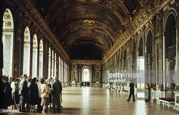 Tourists in the Galerie des Glaces of Versailles ca 1961