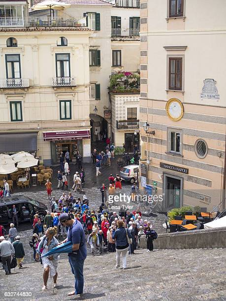 Tourists in the Piazza del Doumo of Amalfi formerly a powerful trading town now popular tourist destination Italy