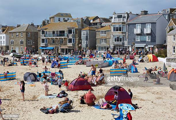 tourists in the popular resort of st ives - truro cornwall stock pictures, royalty-free photos & images