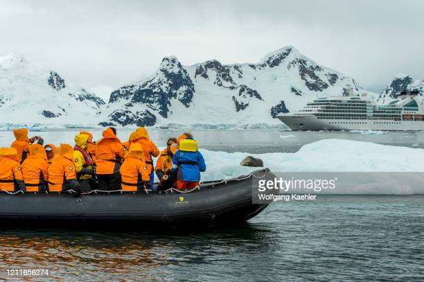 Tourists in zodiac watching a Leopard seal on an ice floe with cruise ship Seabourn Quest in Paradise Bay, Antarctica.
