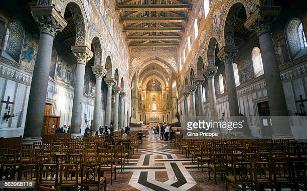 Tourists inside the Cathedral of Monreale Sicily