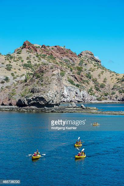 Tourists kayaking along of the coastline at the bay of Aqua Verde a small fishing village near Loreto Sea of Cortez in Baja California Mexico