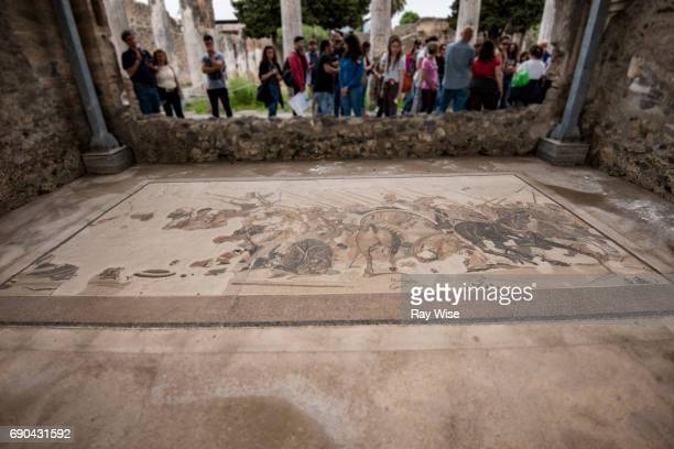 tourists look at a mosaic in pompeii - bokeh museum stock photos and pictures