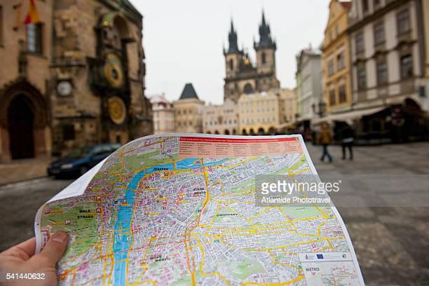 Tourist's map, Staromestske Namesti, the Old Town Square, Prague, Czech Republic
