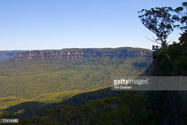 Tourists near Echo Point within Blue Mountains National Park New South Wales Australia
