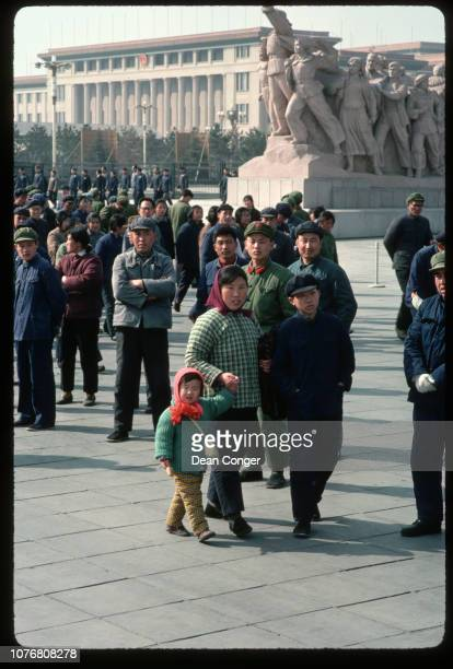 Tourists Near Statues in Tiananmen Square