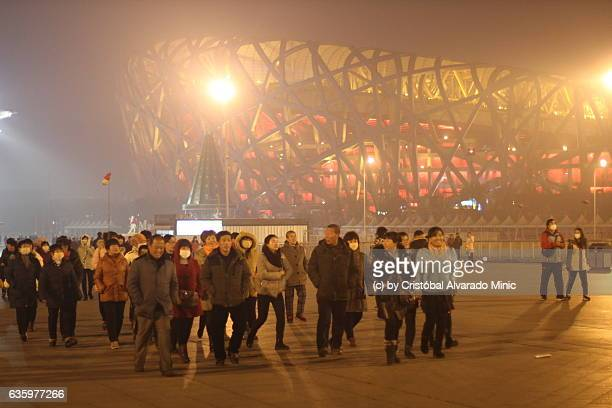 tourists near the bird's nest, beijing. - stadio olimpico nazionale foto e immagini stock