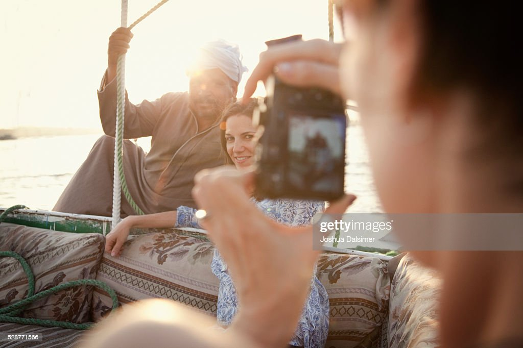 Tourists on a boat : Stock Photo
