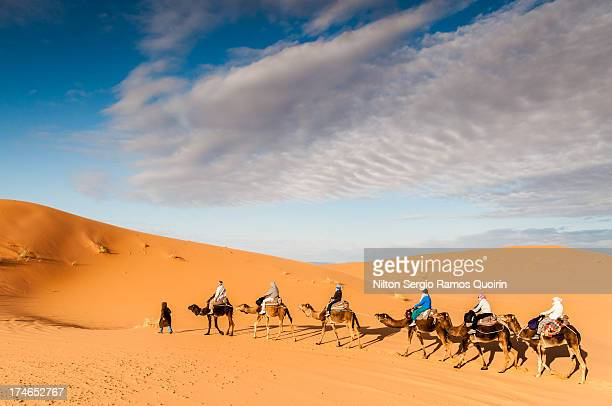 CONTENT] Tourists on a camel trek in the desert of Erg Chebbi Morocco