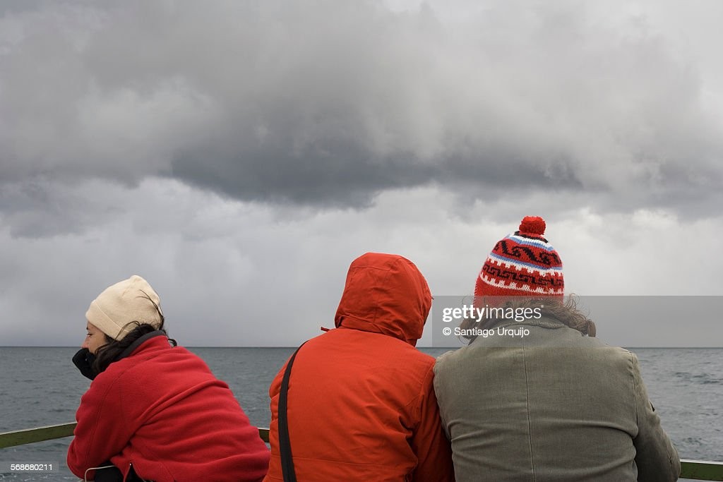Tourists on a ferry in lake Titicaca : Stock Photo