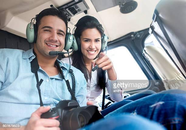 Turistas en un helicóptero