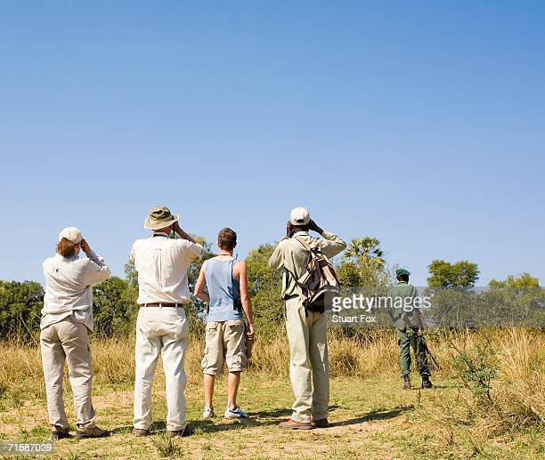 tourists on a safari game walk birdwatching - south luangwa national park stock pictures, royalty-free photos & images