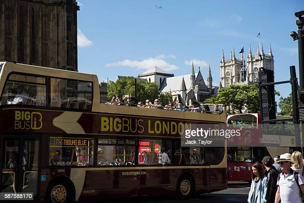 Tourists on a tour bus approach Westminster Bridge on August 9 2016 in London England The UK's tourism industry is set to benefit from a weak pound...