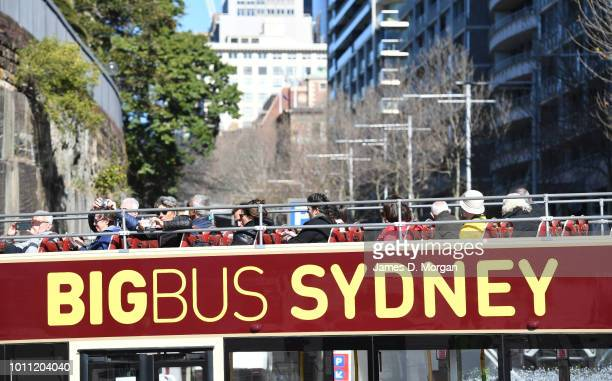 Tourists on an open top bus in the warm winter sunshine on August 5 2018 in Sydney Australia Sydney has had 13 days of at least 20 degrees in the...