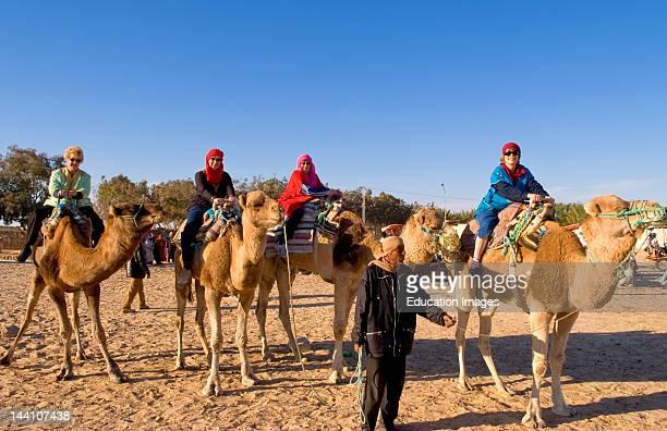 Tourists On Camel Ride Douz Sahara Desert Tunisia