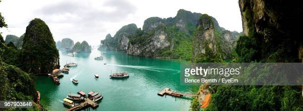 tourists on cliff - halong bay stock pictures, royalty-free photos & images