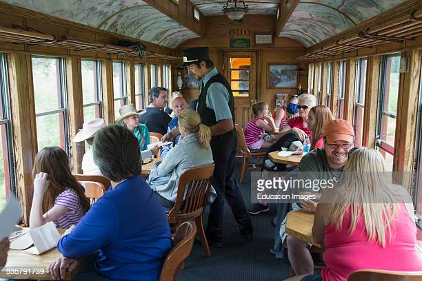 Tourists on Durango and Silverton Narrow Gauge Railroad Steam Engine Train Durango Colorado