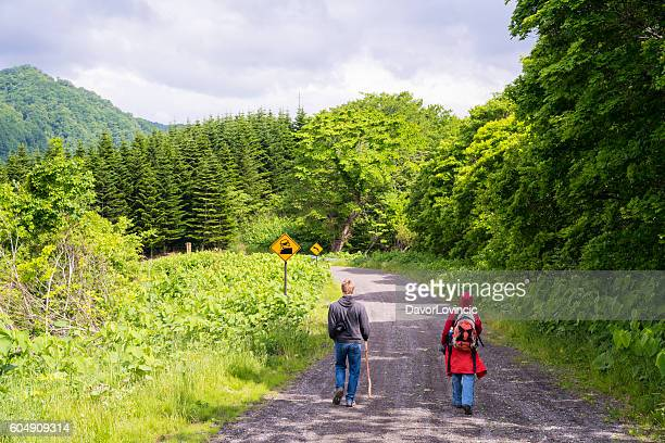 Tourists on Mount Konpira road on Hokkaido, Japan