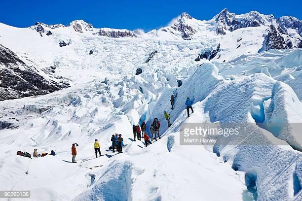 Tourists on mountainside in Santa Cruz Province, Argentina