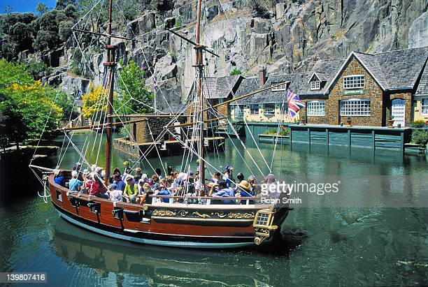 tourists on replica tall ship at penny royal world, launceston, tasmania - launceston australia stock pictures, royalty-free photos & images