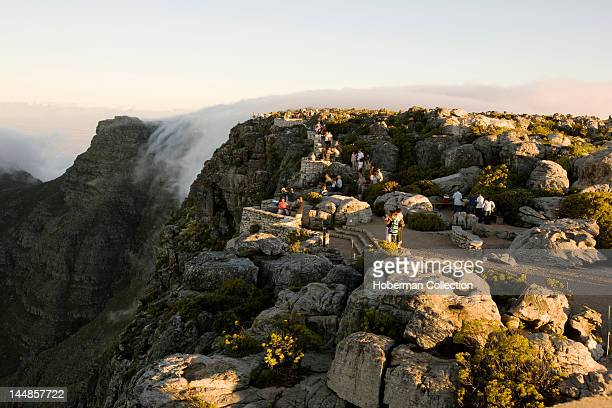 Tourists on Table Mountain Cape town South Africa