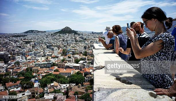 Tourists on the Acropolis Hill on June 3 in Athens Greece Greek Prime Minister Alexis Tsipras is expected to be presented with the international...