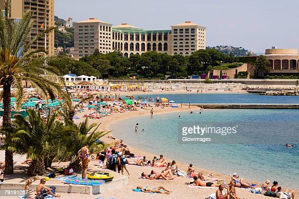 Tourists on the beach, Monte Carlo, Monaco