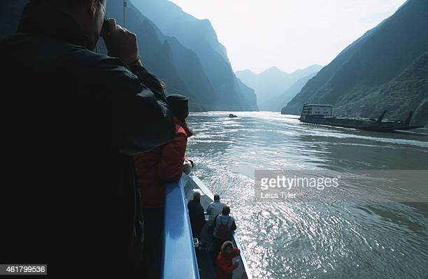 Tourists on the Princess Jeanie as it sails through the Three Gorges Owned by Regal China Cruises this luxury cruise boat plyes the Gorges between...