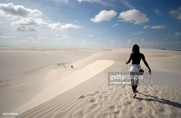 Tourists on the sandhills of the Lencois Maranhenses park   Location Maranhao Province Brazil