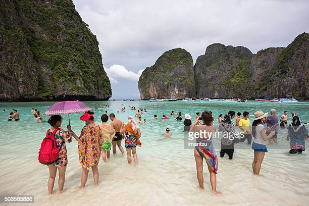 Tourists on the wonderful Maya beach