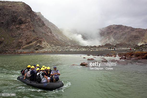 Tourists on White Island North Island New Zealand Whakaari or White Island is an active volcano situated 48 km from the east coast of the North...