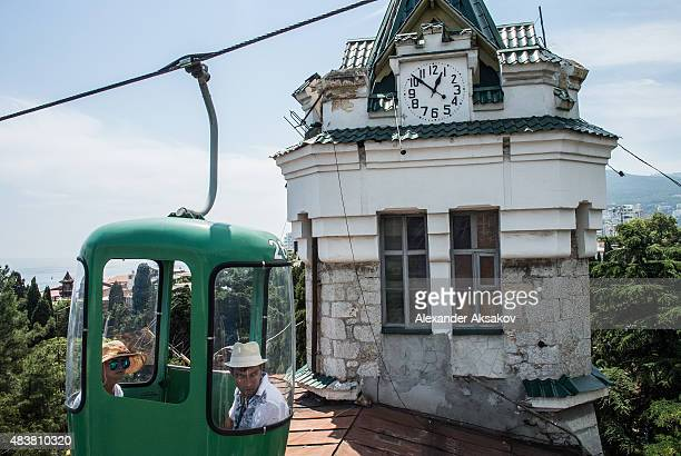 Tourists on Yalta cableway on August 11 2015 in Yalta Crimea Russian President Vladimir Putin signed a bill in March 2014 to annexe the Crimean...