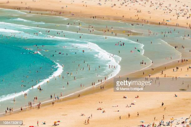 tourists on zurriola beach in summer, san sebastian, spain - san sebastian spain stock pictures, royalty-free photos & images