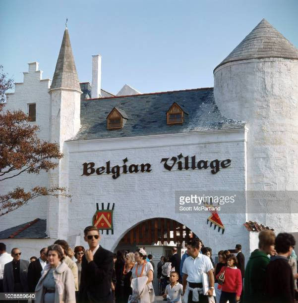 Tourists outside the Belgian Village during the World's Fair in Flushing Meadows Park in Queens New York New York October 1965