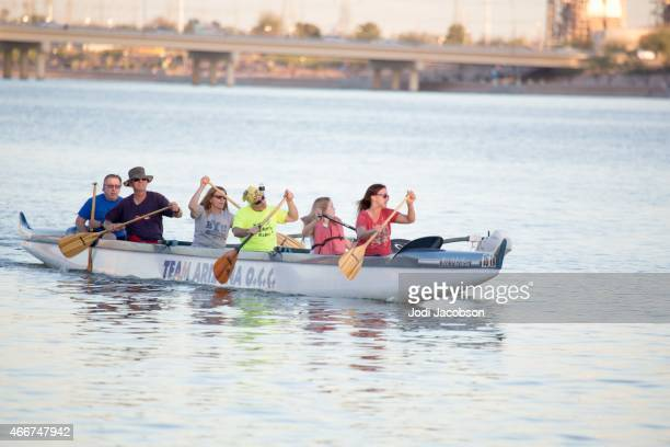 Tourists paddling on the Salt River in Tempe, Arizona