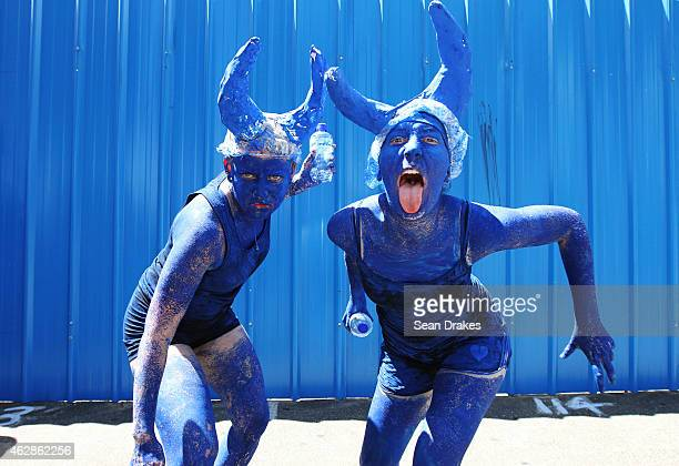Tourists parade as Blue Devils on Frederick Street during the Traditional Carnival Characters Festival as part of Trinidad and Tobago Carnival on...