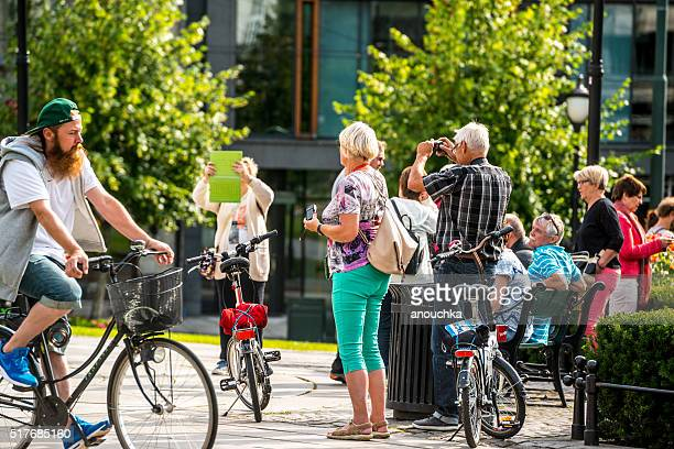 tourists photographing in oslo city center, norway - big tech stock pictures, royalty-free photos & images