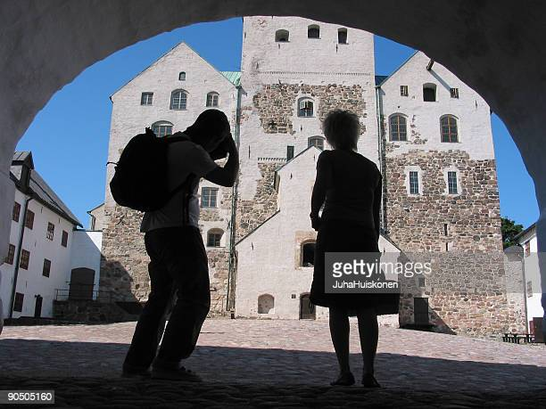 tourists - turku finland stock photos and pictures