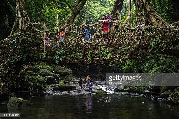 Tourists pose for photographs on a bridge known as a 'living root bridge' in Mawlynnong Meghalaya India on Monday Aug 15 2016 Two years of deficient...