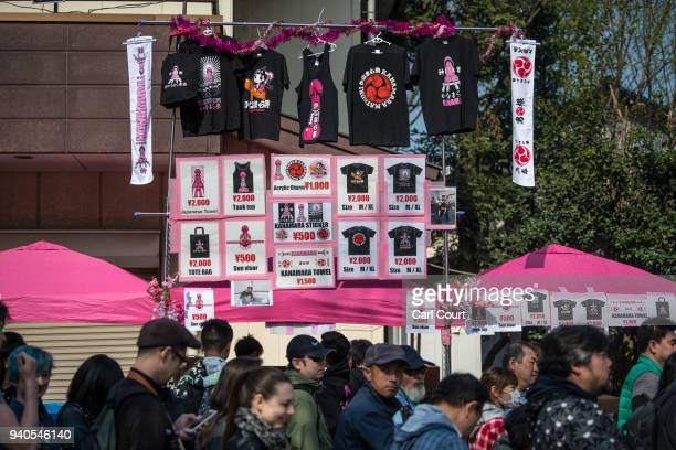 Tourists queue for souvenirs during the Kanamara Matsuri on April 1 2018 in Kawasaki Japan The Kanamara Festival is held annually on the first Sunday...