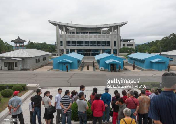 Tourists queueing to visit the conference room on the Demilitarized Zone, North Hwanghae Province, Panmunjom, North Korea on September 11, 2011 in...