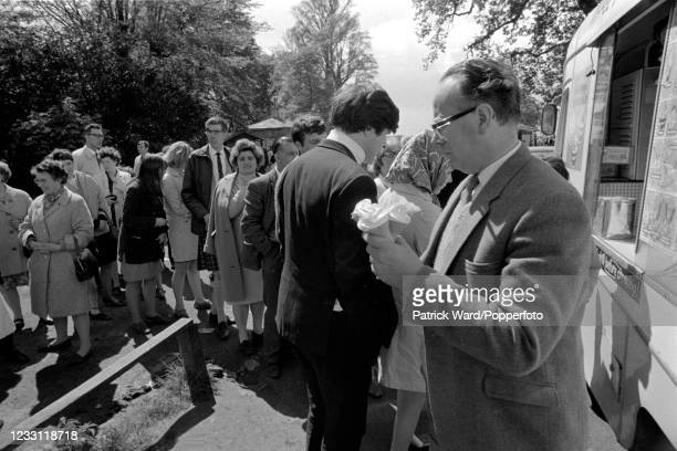 Tourists queueing up to buy ice cream at Woburn Abbey in Bedfordshire, circa July 1969. From a series of images to illustrate the many frustrations...