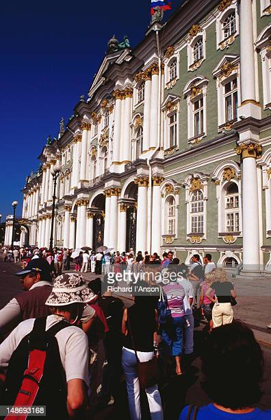Tourists queuing to enter the Hermitage.