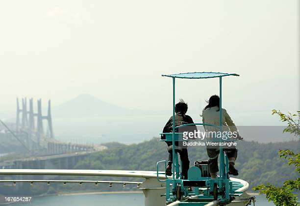 Sky Cycle Japan Stock Photos And Pictures Getty Images - Pedal powered skycycle rollercoaster japan amazing