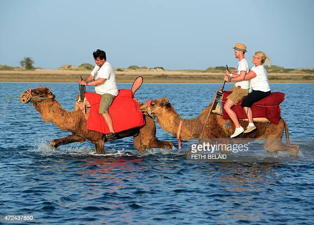 Tourists ride camels along a lagoon on the southern Tunisian resort island of Djerba on May 7 2015 AFP PHOTO / FETHI BELAID