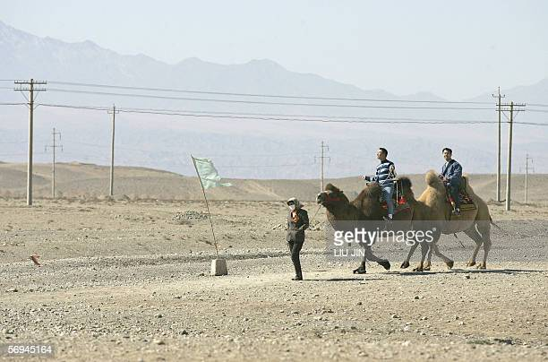 Tourists ride the camels in the Gobi near the famed tourist attraction Jiayuguan Pass, in China's northwestern province of Gansu, 13 October 2005....