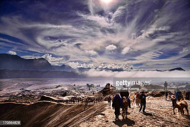 CONTENT] Tourists riding ponies and horses as they trek towards Mount Bromo Bromo Tengger Semeru National Park